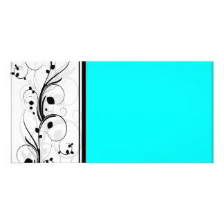 Inspiring black floral and cyan texture photo card
