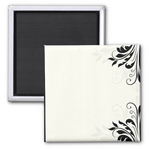 Inspiring black floral on light yellow 2 inch square magnet