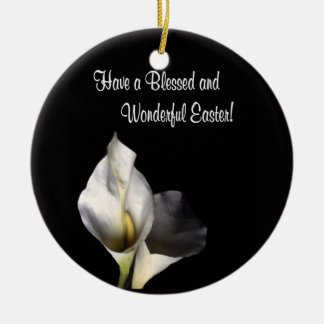 Inspiring Blessed and Wonderful Easter Greeting Double-Sided Ceramic Round Christmas Ornament