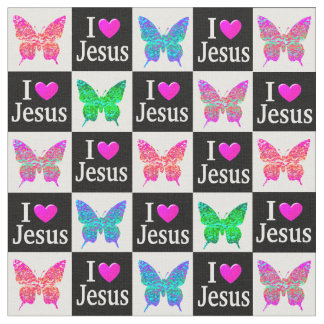 INSPIRING COLORFUL BUTTERFLY I LOVE JESUS FABRIC