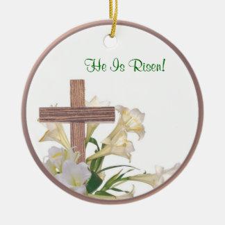 Inspiring Easter Lilies & Wooden Cross Ornament