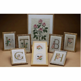 Inspiring Embroidered initials in frames Photo Sculpture