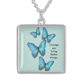 Inspiring growth fluttering butterflies sterling silver necklace