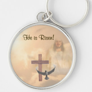 Inspiring He is Risen!  Key Ring Silver-Colored Round Keychain