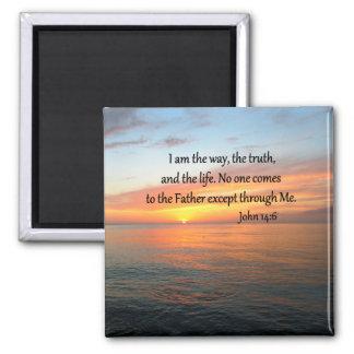 INSPIRING JOHN 14:6 SUNRISE PHOTO DESIGN 2 INCH SQUARE MAGNET
