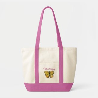 Inspiring joyful bright colorful butterfly tote