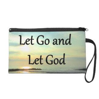INSPIRING LET GO AND LET GOD PHOTO WRISTLET PURSE