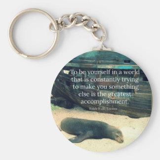 Inspiring Life quote beach theme Keychain