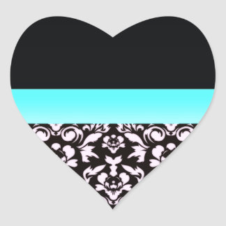 Inspiring light pinkish damask pattern heart sticker