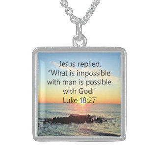 INSPIRING LUKE 18:27 SUNRISE PHOTO DESIGN STERLING SILVER NECKLACE