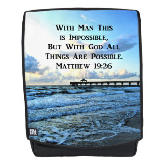 INSPIRING MATTHEW 19:26 OCEAN PHOTO BACKPACK