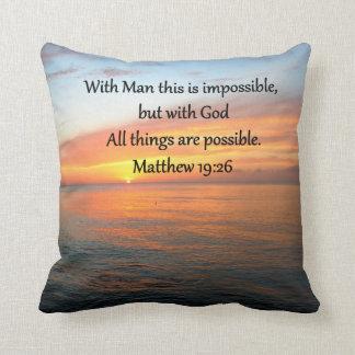 INSPIRING MATTHEW 19:26 SUNRISE DESIGN THROW PILLOW