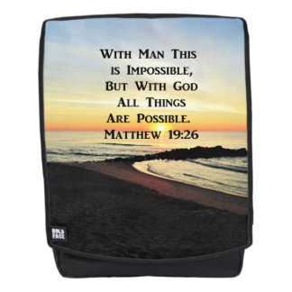 INSPIRING MATTHEW 19:26 SUNRISE PHOTO BACKPACK