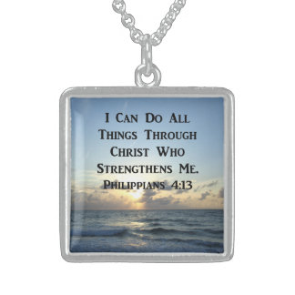 INSPIRING PHILIPPIANS 4:13 BIBLE VERSE STERLING SILVER NECKLACE
