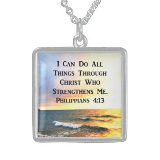INSPIRING PHILIPPIANS 4:13 SCRIPTURE VERSE STERLING SILVER NECKLACE