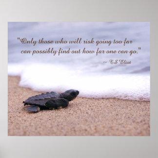 Inspiring Quote Baby Sea Turtle Sand Ocean Print