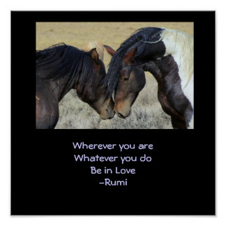 Inspiring Quote. Two Brown Wild Horses Nuzzling Poster