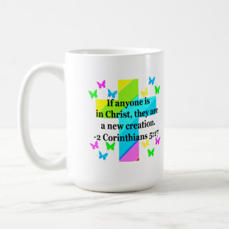 INSPIRING RAINBOW CROSS 2 CORINTHIAN 5:17 COFFEE MUG