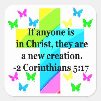 INSPIRING RAINBOW CROSS 2 CORINTHIAN 5:17 SQUARE STICKER