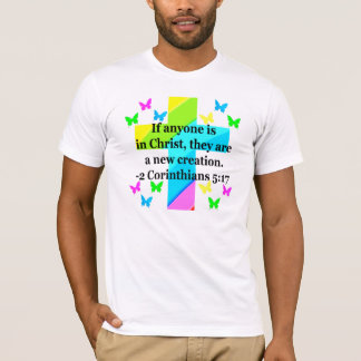 INSPIRING RAINBOW CROSS 2 CORINTHIAN 5:17 T-Shirt