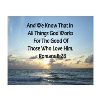 INSPIRING ROMANS 8:28 BIBLE VERSE CANVAS PRINT
