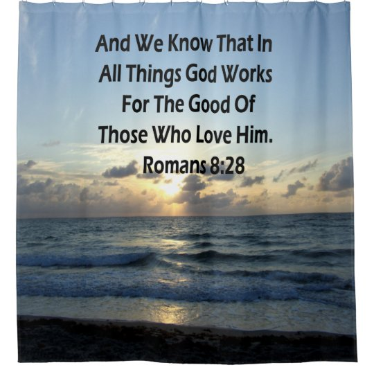 INSPIRING ROMANS 828 BIBLE VERSE SHOWER CURTAIN