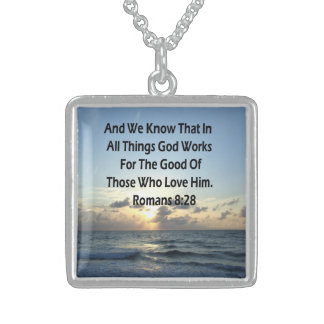 INSPIRING ROMANS 8:28 BIBLE VERSE STERLING SILVER NECKLACE