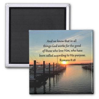 INSPIRING ROMANS 8:28 DESIGN 2 INCH SQUARE MAGNET