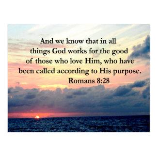 INSPIRING ROMANS 8:28 DESIGN POSTCARD