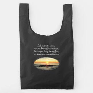 INSPIRING SUNRISE SERENITY PRAYER DESIGN REUSABLE BAG