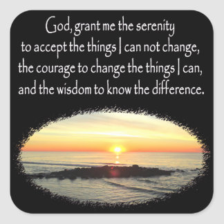 INSPIRING SUNRISE SERENITY PRAYER DESIGN SQUARE STICKER