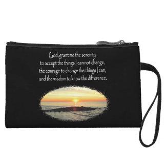 INSPIRING SUNRISE SERENITY PRAYER DESIGN WRISTLET WALLET