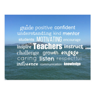 Inspiring Teachers Word Collage Postcard