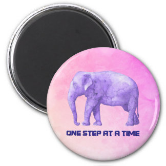 Inspiring Typography Purple Watercolor Elephant Magnet