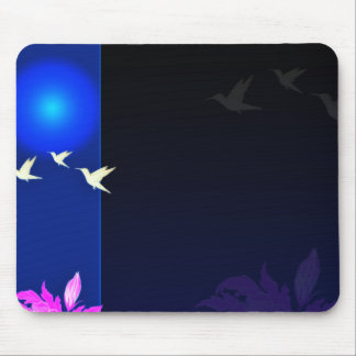 Inspiring white birds and pink blossom gift mouse pad