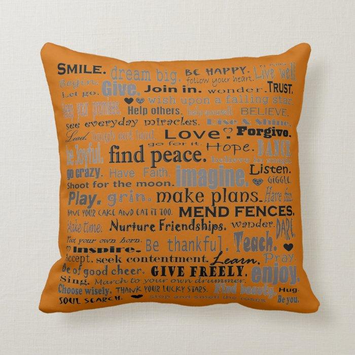 Inspiring word collage pillow art