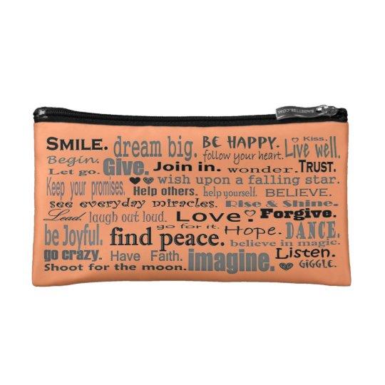 inspiring words and flowers makeup bag