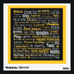 """inspiring words art wall sticker<br><div class=""""desc"""">Association with positive words is uplifting. A beautiful wall decal full of fun phrases and joyful words in various fonts and sizes to lift your spirits. Black background and grey and gold lettering and gold border. Peel and stick and re-stick. Keep your sunny side up. Find peace, smile, love, make...</div>"""