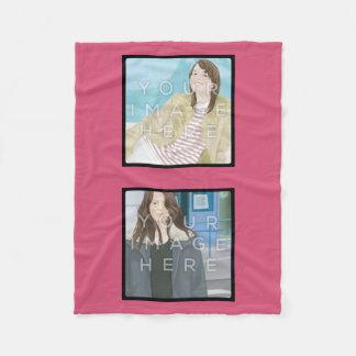 Instagram 2-Photo Pink Custom Fleece Blanket