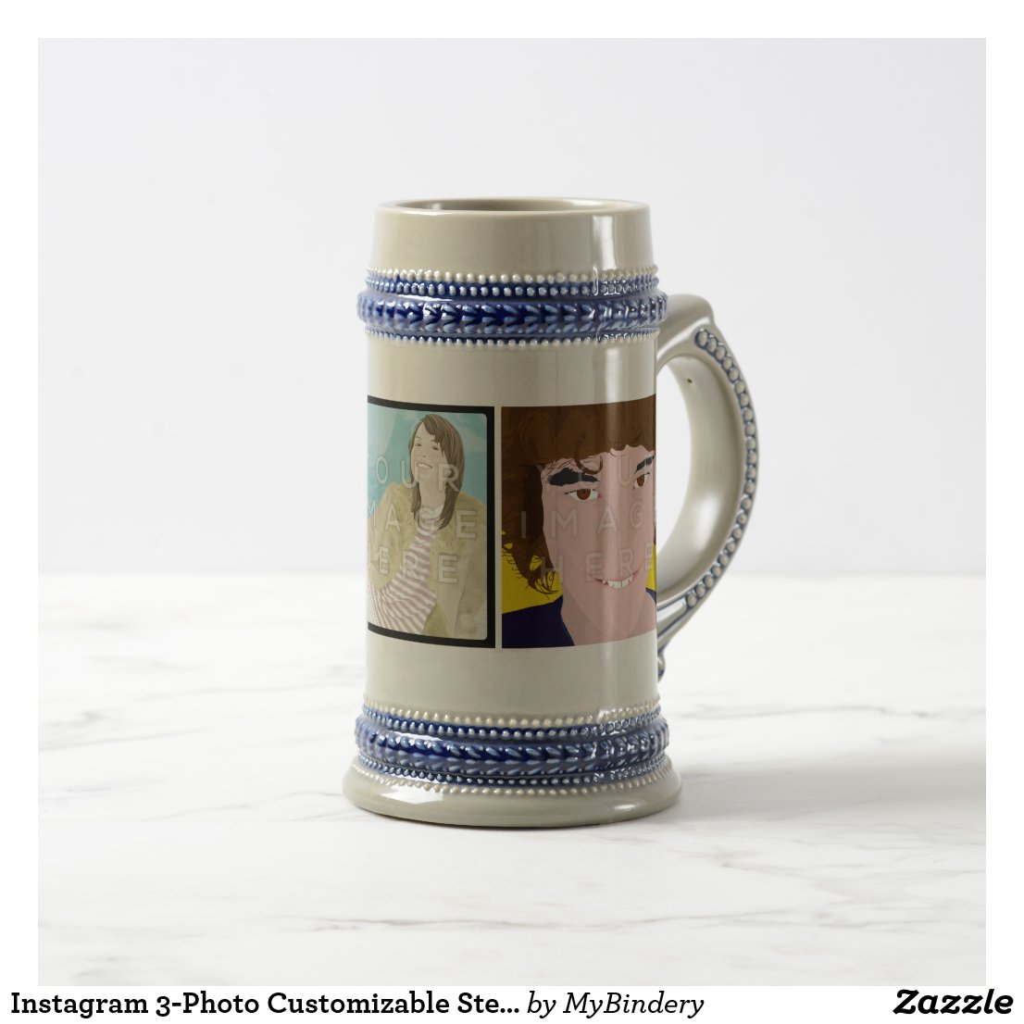 Instagram 3-Photo Customizable Stein Mug