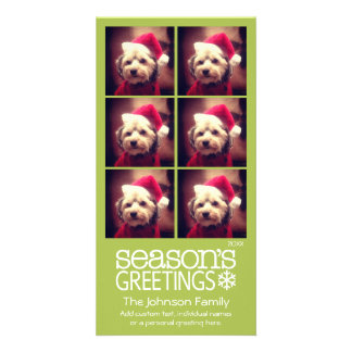 Instagram 6 photo collage - lime background customized photo card