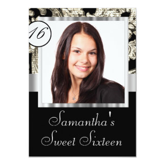 Instagram and damask sweet sixteen card