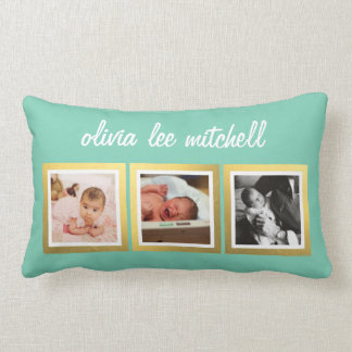 Instagram Baby Photo Pillow Name & Custom Color