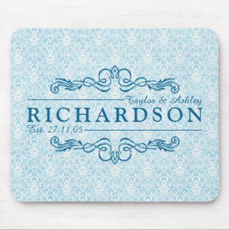 Instagram Blue Damask Wedding Anniversary Monogram Mouse Pad