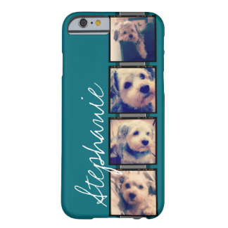 Instagram Collage - 4 photos blue background Barely There iPhone 6 Case