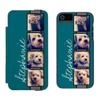 Instagram Collage - 4 photos blue background Wallet Case For iPhone SE/5/5s