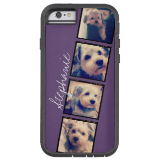 Instagram Collage - 4 photos purple background Tough Xtreme iPhone 6 Case