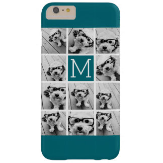 Instagram Collage with Custom Monogram Blue Barely There iPhone 6 Plus Case