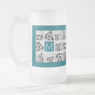 Instagram Collage with Custom Monogram Blue Frosted Glass Beer Mug