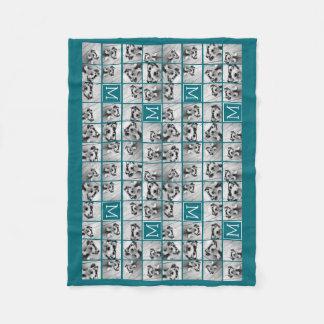 Instagram Collage with Custom Monogram Blue Fleece Blanket
